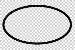 从黑绳索的卵形框架您的在透明作用背景的元素设计的 图库摄影