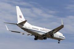 从34分谴舰队的皇家澳大利亚人空军队RAAF波音737 VIP航空器在对土地的方法在墨尔本国际机场 免版税库存照片