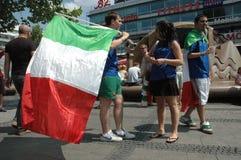 从2006年世界杯足球赛的印象在柏林从2006年7月9日在意大利之间的决赛前和法国,德国 免版税图库摄影