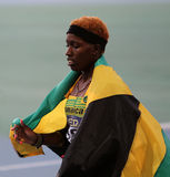 从400 m. hur的牙买加赢利地区的Janieve罗素。 库存照片