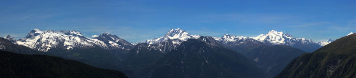 从Aletsch (瑞士)的全景 免版税库存图片