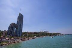 从arial看法的城市视图在芭达亚海滩,泰国 免版税库存照片
