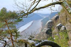 从Bastai山的高度看 库存照片