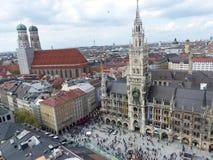 从belove看见的玛利亚广场的全景在慕尼黑 ?? 图库摄影