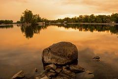 从Bobcaygeon的日落视图,安大略 免版税库存照片