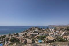 从Bolnuevo岩层侵蚀的一个看法在地中海海岸的在西班牙 库存照片