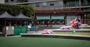 从britisch旗子的反射 库存照片