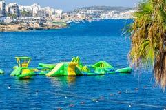从Bugibba马耳他的海边视图 免版税库存图片
