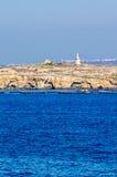 从Bugibba马耳他的海边视图 免版税库存照片