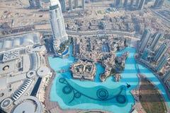 从Burj Khalifa的顶视图在迪拜 库存图片
