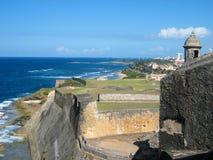 从Castillo de圣CristA? ³ bal的沿海视图 免版税库存图片