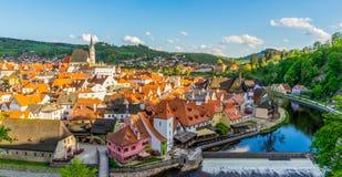 从Cesky krumlov城堡的Cityview,捷克 图库摄影