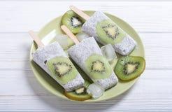 从chia酸奶和猕猴桃的冰棍儿 免版税库存图片