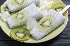 从chia酸奶和猕猴桃的冰棍儿 免版税库存照片