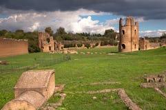 从Circo在罗马-意大利的di Massenzio的废墟 免版税库存照片