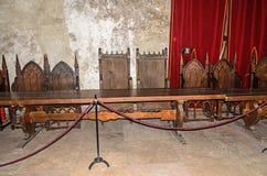 从Corvins城堡修造的内部屋子的细节匈雅提・亚诺什,皇家椅子 免版税库存照片