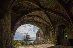 从Culross修道院里边废墟的看法  库存图片