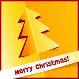从cuted纸张的创造性的圣诞树 库存图片