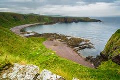从Dunnottar城堡的全景,在Stonehaven附近,苏格兰 免版税库存照片