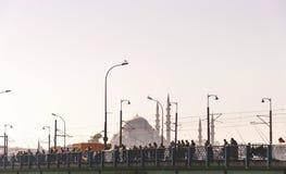 从Eminonu,其中一个的看法由金黄垫铁的拥挤和最普遍的斑点,伊斯坦布尔 免版税库存照片