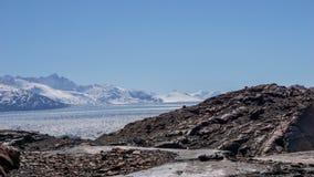 从Estancia克里斯蒂娜和Glaciar Upsala,巴塔哥尼亚,阿根廷的风景看法 免版税库存图片