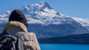 从Estancia克里斯蒂娜和Glaciar Upsala,巴塔哥尼亚,阿根廷的风景看法 库存图片