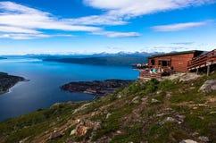 从Fagernes山的视图。 Narvik。 免版税库存照片