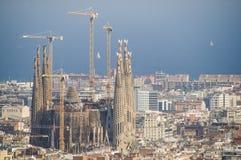 从Gaudi的Sagrada Familia在巴塞罗那 免版税图库摄影
