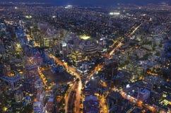 从Gran Torre圣地亚哥的全景城市视图在圣地亚哥de智利 库存照片