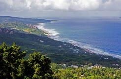 从Hackleton ` s峭壁的Bathsheba沿海视图在巴巴多斯 免版税图库摄影