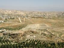 从Herodium â Herod国王的宫殿堡垒i., Judean沙漠,以色列的视图 库存照片