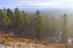 从hillfort Girniku的看法 在城市希奥利艾,立陶宛附近安置 库存照片
