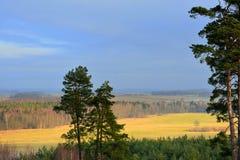 从hillfort Girniku的看法 在城市希奥利艾,立陶宛附近安置 免版税库存图片