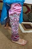 从Hormuz海岛的传统被绣的伊朗长裤 免版税库存图片
