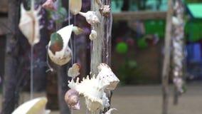 从hunging在踩和挥动在风的海壳的接近的装饰 海在室外的串的壳装饰 股票视频