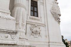 从Il Vittoriano的华丽外部的建筑细节 免版税库存照片