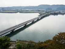 从Kitsuki城堡-大分县,日本的顶端全景 免版税图库摄影
