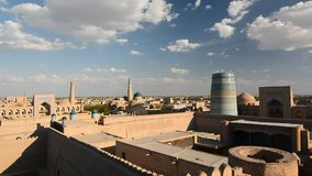 从Kunya平底船城堡的看法 Itchan卡拉 Khiva 乌兹别克斯坦 股票视频
