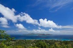 从la digue海岛,塞舌尔群岛的顶端视图 免版税库存图片