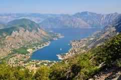 从Lovcen山的科托尔海湾 免版税库存照片