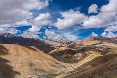 从Manali - Leh路的看法在拉达克,查谟和克什米尔,印度 库存照片