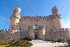 从Manzanares el皇家马德里,西班牙的城堡。 免版税库存照片