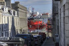 从Marischal街看见的港口 阿伯丁,苏格兰,英国 免版税库存照片