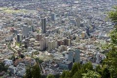 从Monserrate小山的城市视图在波哥大 库存图片
