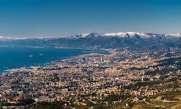 从Monte和它的海湾看见的鸟瞰图热那亚Fasce 库存照片