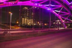 从montrose的休斯敦在晚上 免版税图库摄影