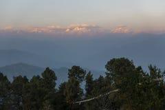 从Nagarkot的喜马拉雅山在尼泊尔 免版税库存照片