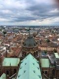 从Notre Dame de史特拉斯堡的顶端看法 库存照片