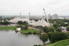 从Olimpiaberg的一个看法到Olimpic公园,慕尼黑,德国 图库摄影