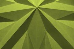 从origami的黄绿单色抽象背景 图库摄影